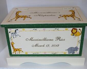 Baby Keepsake Box Baby Keepsake Chest Safari baby memory box hand painted personalized baby gift neutral