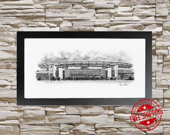"Man Cave  art Print 10""X20"" Gillette Stadium New England Patriots Football"