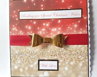 Large Handmade Christmas Bow Card - Mum, Dad, Wife, Husband, Sister, Brother, Nan etc