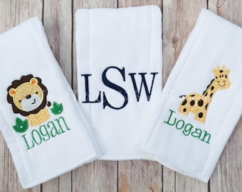 Set of 3 Personalized Burp Cloths - Embroidered Burp Cloth Set - Boy Burp Cloth Set - Baby - Newborn - Monogram Burp Cloth