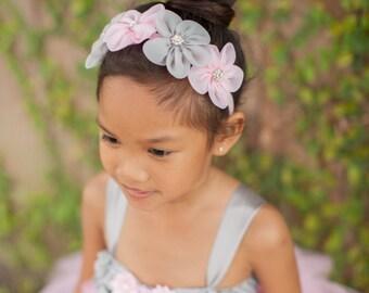 Pink Gray Headband, Flower Girl Headband, Pink Grey Headband, Spring Wedding Headband, Bridal Headband, Pink Gray Wedding, Flower Crown