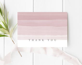 """PRINTABLE Thank You Card, 3.5""""x5"""" Folded Thank You Card, Blush Pink Thank You Card, Digital Download, DIY Thank You Card, A1 Thank you Card"""