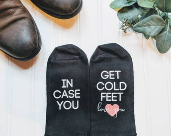 Just in case you get cold feet, cold feet socks, groom gift, gift for groom from bride, cold feet gift, personalized wedding gift.