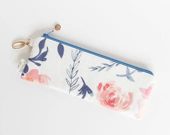 "9.5"" x 3.5"" Top Zippered Pouch // Aquarelle Study in awash by Bonnie Christine"
