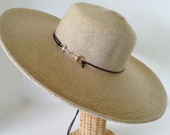 Snaffle bit gold buckle  Wide Brim Hat with Leatherette Chin Cord