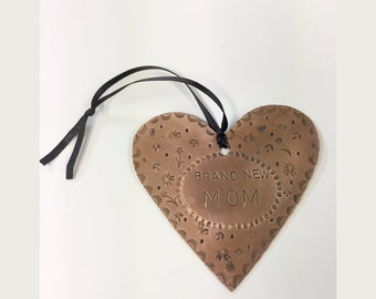 Love Mom Copper Heart Ornament - Mothers Day Heart - Mom's Day Gift - Special Copper Heart for Mother