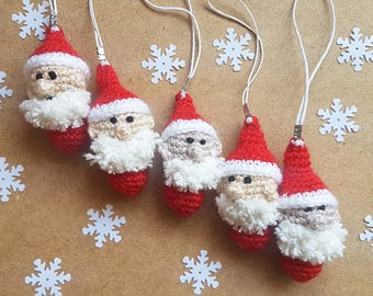 Crochet santa claus Christmas ornaments party favors key fob keychain christmas decorations christmas gifts for coworkers gift for friends