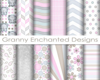 Ellie Paper Pack: 12 Digital Papers– in Gray, Pink, and Brown Scrapbook Patterns (010p1)