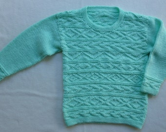 Girls Sweater/Girls Jumper/Girls Pullover/Textured Jumper/Childs Jumper/Kids Jumper/Kids Sweater/Aqua Jumper/6 years/7 years/8 years/Sweater
