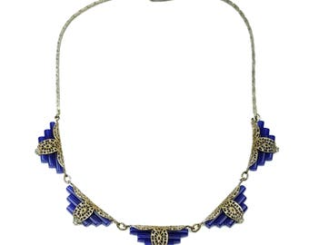 Art Deco Cobalt Blue Glass Filigree Necklace // Vintage Silver-tone Stepped Geometric Symmetry Link Choker // Bridal Wedding Something Blue