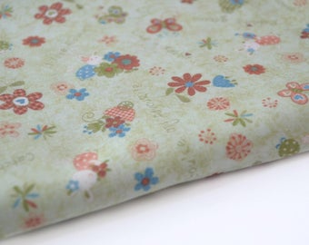 Fat quarter cotton flower green 50 X 110 cm