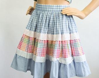 Pastel Mini Skirt Full Free Skirt Swing Square Dance Gingham Bluegrass High Waisted Kawaii Lolita Folk Country Spring Summer Small