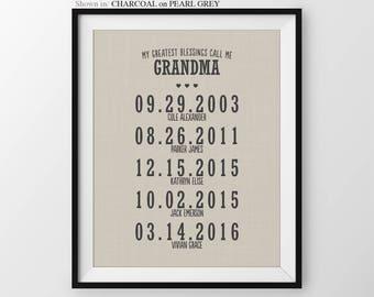 Mothers Day Gift For Grandma Gift For Nana Personalized Gift For Grandmother Grandparents Gift Grandchildren Names Gift From Grandchildren