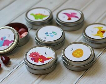 Reusable Magnetic Valentine's Advent Tins / Dinosaurs / 14 Valentine's Count Down Calendar / Valentine's Day Decorations / Advent Calendar