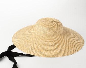 New style straw hat retro straw hat, straw hat, windproof tie, beach resort, sun protection hat brim