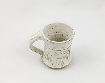 Pottery Mug Leaf Design Cream 8 oz. Handmade by Daisy Friesen