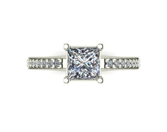 Square Moissanite Engagement Ring in 9 Carat White Gold