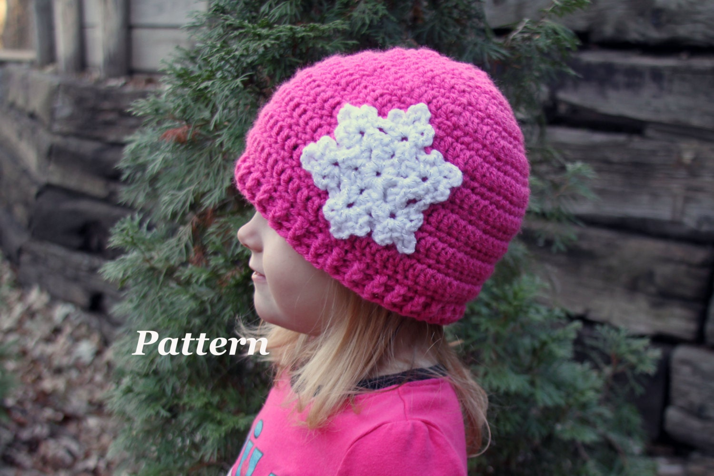 PATTERN: Snowflake Beanie Crochet Hat, Crochet Winter Cap, Girls and ...