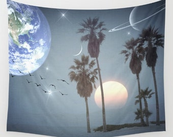 Longing Wall Tapestry, Palm Trees Large Size Wall Art, Surreal, Office, Modern, Dorm, Nature, Outdoor, Garden, Beach Hut Decor, Space,Earth