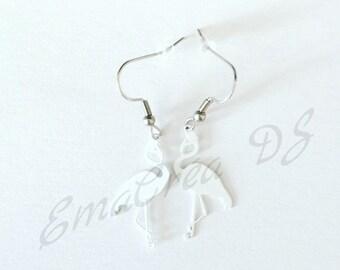 Flamingo Pink White earrings