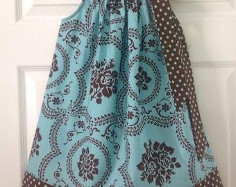 READY TO SHIP Aqua and Brown Damask Pillowcase Dress Size 4