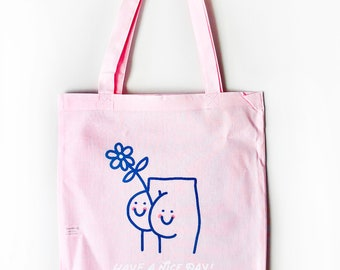 Happy Booty Light Pink Tote Bag