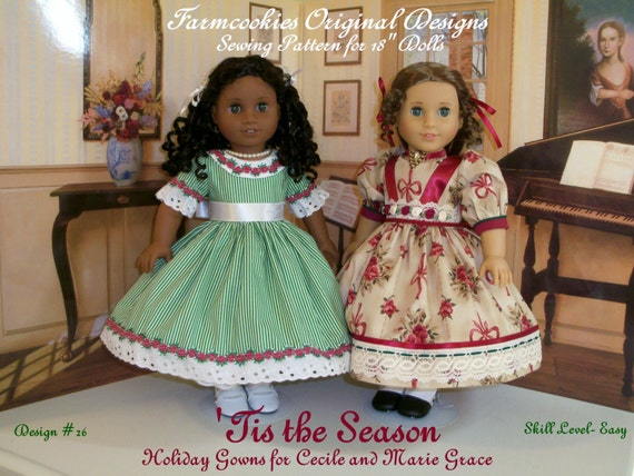 """PRINTED  Sewing Pattern / Tis the Season  / Holiday Gowns Fit 18"""" Dolls"""