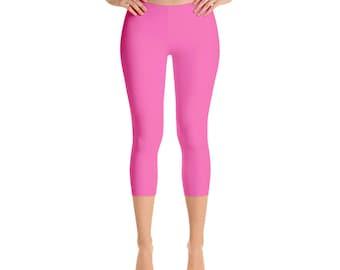 Capris Hot Pink Leggings, Womens Yoga Clothes, Workout Yoga Pants