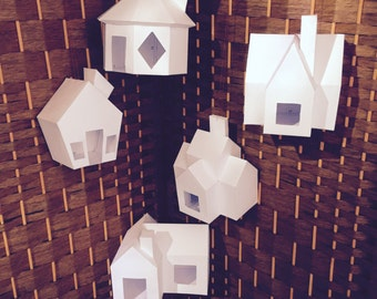 Make Your Own 5 Christmas Ornaments Houses from Paper + Bonus 5 Crystals! PDF pattern, Polygon Shape DIY Christmas Papercraft