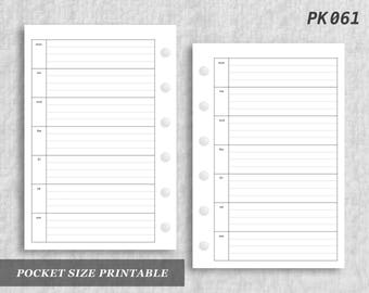 Pocket Size Printable Horizontal Wo1P Lined Weekly Week on One 1 Page Wo1 Digital Download PK061