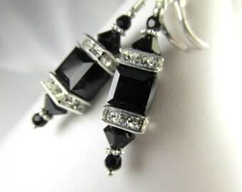 Swarovski Crystal Jet Black Square Cube Lantern Earrings on Sterling Silver Fill Leverback Earring Wires