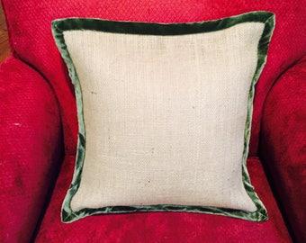Burlap & Velvet Edged Pillow