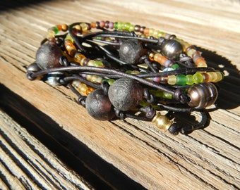 Jewelry Bracelet Boho Wrap Bracelet Leather Wrap Beaded Wrap Leather Bracelet Wrap Leather gift for her leather  Natural Leather beaded wrap