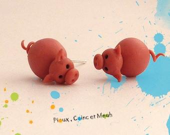 Little pink pigs - chip loop earrings