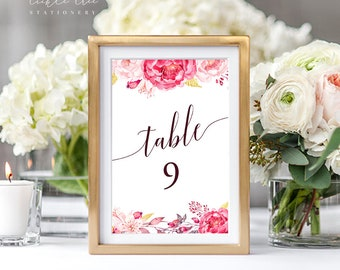 Table Number Cards - Pink Passion (Style 13616)