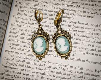 Downton Abbey Inspired Hanging Cameo Earrings: Green