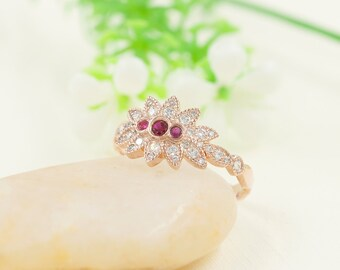 Art Deco Ruby Bezel Ring/Marquise Double Crown Diamond Ring/14K Rose Gold Ring/Diamond Cluster Ring/3 Rubies Ring/Leaf Design Band Style