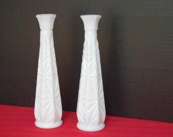 Matching Milk Glass Bud Vases, Vintage White Vases, Bridal Shower Decor, Wedding decor, Table Decor, Flower Vase