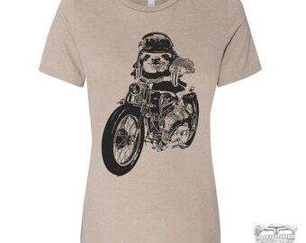 Womens Boyfriend Tee Motorcycle SLOTH relaxed jersey T-shirt - s m l xl xxl - Hand Screen Printed Zen Threads + Bella Canvas 6400 custom