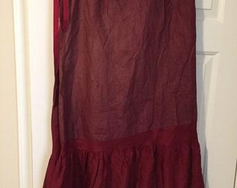 Antique Red Silk Victorian Petticoat