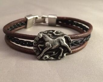 Equestrian Bracelet, Horse Bracelet, Leather Horse Bracelet, Pewter Horse Bracelet