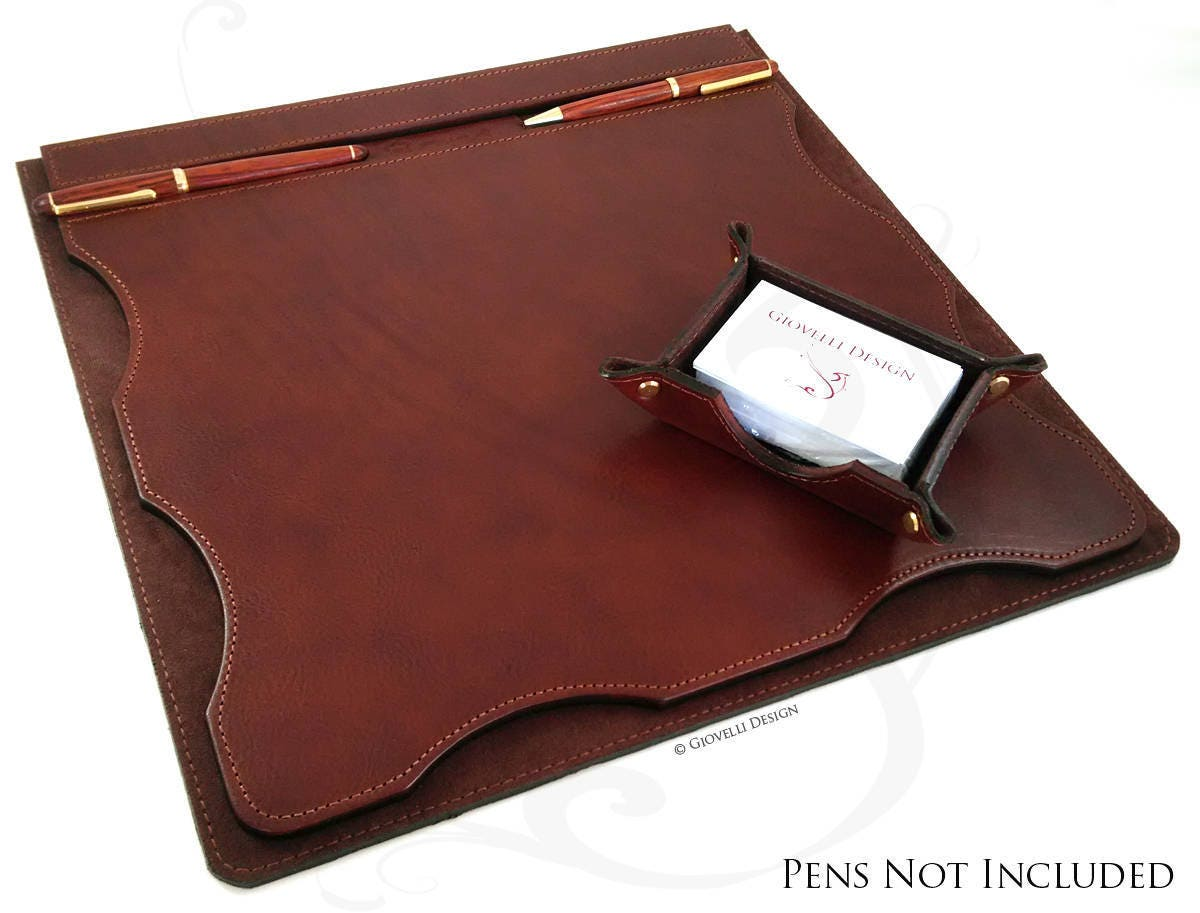 Leather Desk Mat with Business Card Holder