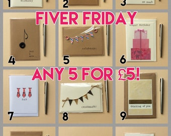 Fiver Friday, 5 cards for a fiver, greetings card bundle, set of cards