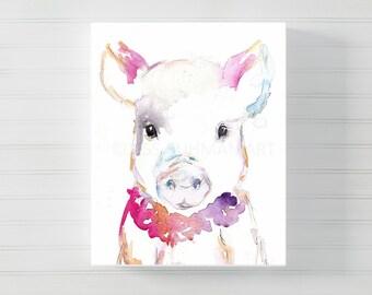 Canvas Pig Art, Canvas Animal Art, Watercolor Pig on Canvas, Pig Painting, Pig Print, Canvas Art, Farm Animal, Nursery Animal Art