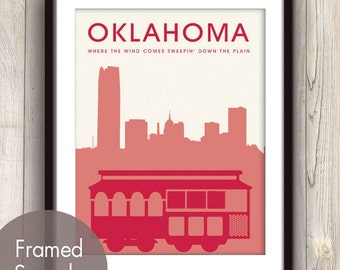 OKLAHOMA CITY- Unframed Art Print (featured in Cardinal Red) Oklahoma Skyline / Trolley Car Print