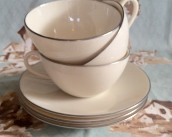 """Set of 3 teacups with saucers by Lenox """"Olympia Platinum"""""""