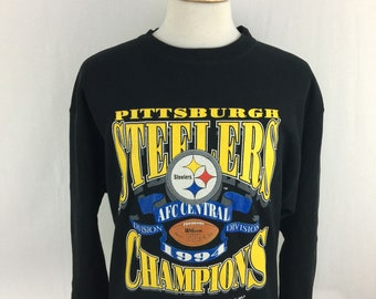 Vintage 90s Pittsburgh Steelers AFC 1994 Champions Logo 7 Pull Over Size XL