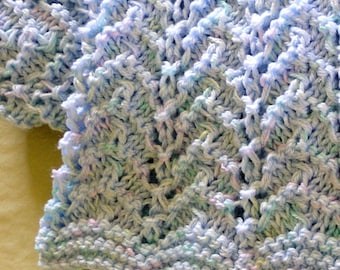 Knitting Pattern Baby Afghan PDF Pattern Hand Knitted Chevron Throw, Size Adjustable.