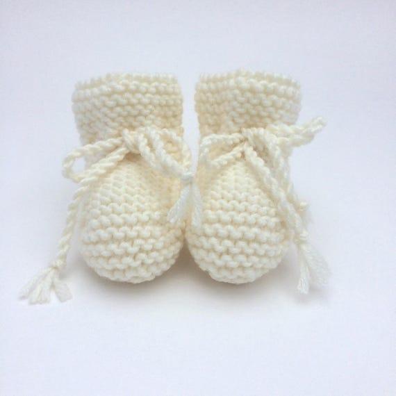 Merino Wool Baby Booties in Cream - Pre-Order