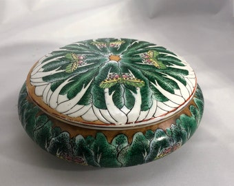 Vintage Floral and Butterfly Powder/Candy Dish with Gold-trimmed Lid